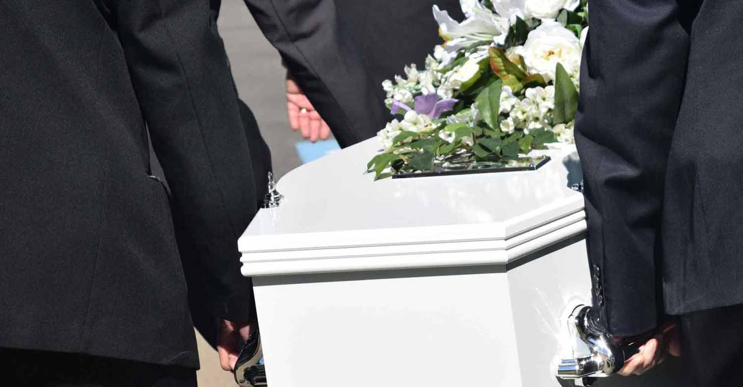 A casket carried by a funeral home business customer of Centratel Telephone Answering Service